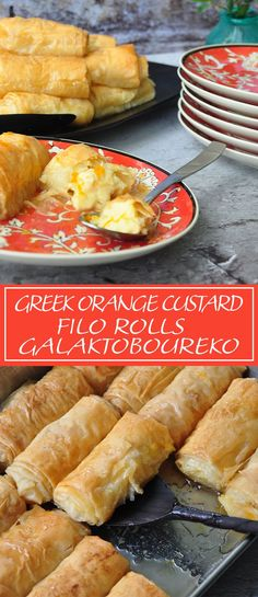 Greek Orange Custard Filo Rolls – Galaktoboureko – Recipe Winners Flaky and buttery filo pastry that is baked till golden and crispy filled with a creamy orange scented custard then bathed with a glorious cinnamon and orange syrup. Greek Sweets, Greek Desserts, Köstliche Desserts, Greek Recipes, Galaktoboureko Recipe, Puff Pastry Recipes, Filo Pastry Desserts, Pastries Recipes, Orange Creme