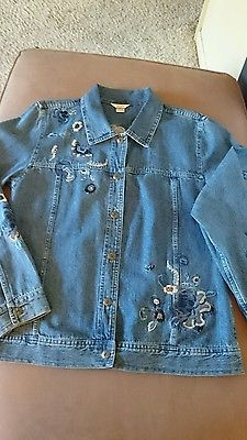 Christopher & Banks Denim Jean Jacket Womens Size Large Floral Embroidery