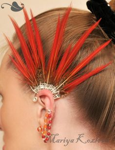 Gold Pheasant Fairy Ear cuff with feathers and gems for by KOZLOVA, $90.00