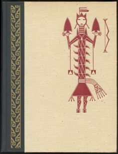 """Binding illustration for The Eagle, The Jaguar, and The Serpent: Indian Art of the Americas by Miguel Covarrubias, 1954. For a 50 Watts post I'm working on. [Latino Toonshelpfully added: """"Mitla (city of the dead), Oaxaca waves on the left, and a Kachina indigenous drawing on the right""""]"""