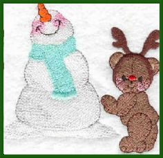 Threadsketches' Bearly Christmas, Christmas embroidery designs, bear with antler and snowman