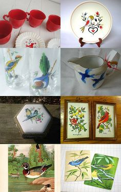 Vintage Birds by Kate and Nell on Etsy--featuring our Homer Laughlin plates