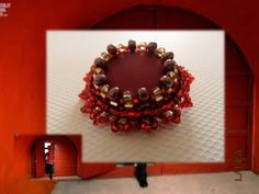 Beaded bordo Brooch with red gold seed beads and by Beadsnbrooches, €17.00