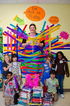 If 90% of the students in the entire school meet the goal, the Principal does something outrageous or fun for the students.  She has been slimed, kissed a pig, treated the kids to Bingo and even invited them to a carnival.  This year she was taped to a wall and read for two hours.  She says she would do anything to get kids to read.  I guess this is her way of walking the talk! @Jill Meyers Meyers Meyers Meyers Beer