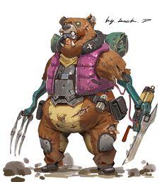 animal fur on mech/robot? Game Character Design, Character Creation, Character Design References, Character Design Inspiration, Character Concept, Character Art, Bears Game, Superhero Stories, Arte Robot