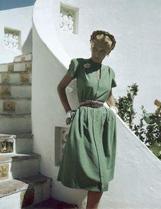 Model is wearing a grass-green shantung dress, Hollywood pattern No. 1610, 1945.