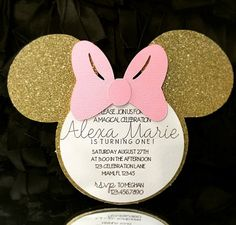 Minnie Mouse Invitation Pink and Gold Minnie by ExclusiveAllure Minnie Mouse 1st Birthday, Minnie Mouse Party, 1st Birthday Girls, Mouse Parties, First Birthday Parties, First Birthdays, Minnie Mouse Invitation, Birthday Ideas, Minnie Mouse Rosa