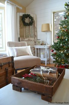 Little Vintage Nest Christmas Home Tour Coffee Table
