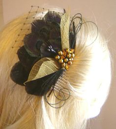 BLACK and GOLD Peacock Feather Bridal Hair by maggpieseye on Etsy, $35.00