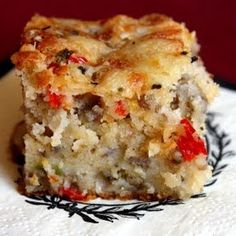 Southern Sausage Cake @keyingredient #cake #cheese #vegetables