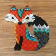 Fox hama perler beads by theycallme_pg - inspiration for a f ox embroidery pattern Perler Bead Designs, Hama Beads Design, Diy Perler Beads, Perler Bead Art, Pearler Beads, Melty Bead Patterns, Pearler Bead Patterns, Perler Patterns, Weaving Patterns
