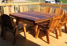 Cedar table and chairs by Flamborough Patio Cedar Furniture, Adirondack Furniture, Outdoor Furniture, Outdoor Decor, Cedar Table, Table And Chairs, Patio, Home Decor, Decoration Home