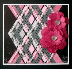 """Argyle"" card by Lauren Bergold; Road Washi Tape, Pearl Bling Strips, Pink Paper Flowers and Bumpy Heart Gems by Eyelet Outlet"