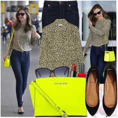 """Miranda Kerr loves Michael Kors Selma Messenger Bag in Neon Yellow"" by katijaa on Polyvore"