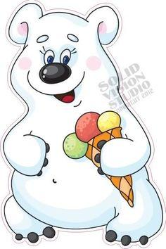 "14"" Ice Cream Cone Bear Concession Trailer Vendor Fun Fast Food Truck Sign Decal"