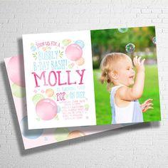 Rainbow Bubble Birthday Invitation | Rainbow Bubbles Birthday Invite | Bubble Party | Blowing Bubbles Birthday invite |  DIGITAL FILE ONLY