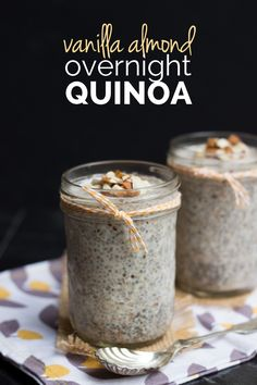 Vanilla Almond Overnight Quinoa - only takes 5 minutes to make and is 100% gluten-free, sugar-free and vegan!