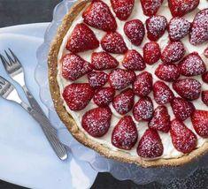 Hazelnut tart with orange mascarpone & strawberries recipe - Recipes - BBC Good Food Yum! Bbc Recipes, Bbc Good Food Recipes, Cake Recipes, Dessert Recipes, Yummy Food, Cookie Desserts, Just Desserts, Interesting Recipes, Sweet Tarts