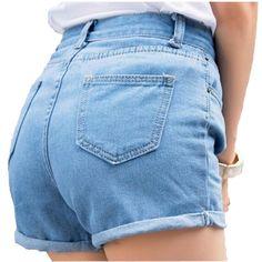 5537bc648a Spring and Summer Retro high waist Women denim shorts Blue loose short  female thin curling fashion