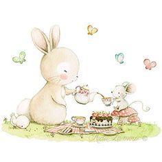 Ilustración infantil picnic con tarta