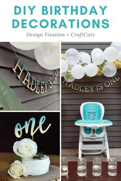 Easily make your own DIY Birthday Decorations with Baltic Birch Wood Letters, a custom Birthday Cake Topper and watercolors. | CraftCuts.com First Birthday Decorations, First Birthday Parties, Baby Shower Decorations, Birthday Celebration, First Birthdays, Custom Birthday Cakes, Birthday Cake Toppers, Painting Wooden Letters, Painting On Wood