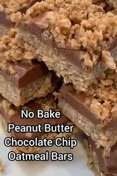 These No Bake Peanut Butter Chocolate Chip Oatmeal Bars are absolutely delicious! They are a favorite treat for my family and I know you'll love them too! Oatmeal No Bake Cookies, Peanut Butter Oatmeal Bars, Chocolate Chip Bars, Peanut Butter No Bake, Oatmeal Chocolate Chip Cookies, Peanut Butter Recipes, Easy Oatmeal Bars, Oatmeal Squares, Oatmeal Cookie Bars