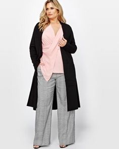 Shop online for Michel Studio Long Sleeve Duster. Find Sale-Tops, and more at AdditionElle Curvy Petite Fashion, Trendy Plus Size Fashion, Stylish Plus, Plus Size Outfits, Trendy Outfits, Fall Outfits, Cute Outfits, Addition Elle, Elle Fashion