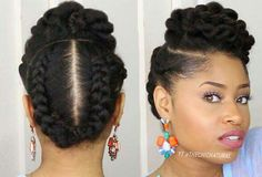 5 Gorgeous Natural Hair Styles That Are Super Easy to Do - - Are you styling-challenged? Do you want an easy, gorgeous style to try this month? Then check out these five natural looks: Twisted Updo Start on stretched hair (via African threading…. Pelo Natural, Natural Hair Updo, Natural Hair Care, Simple Natural Hairstyles, Professional Natural Hairstyles, Protective Hairstyles, Braided Hairstyles, Cool Hairstyles, Black Hairstyles