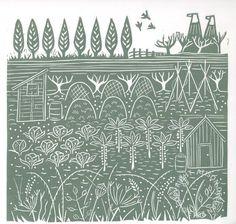 'Down the allotments III', 2013, Alison Deegan, linocut print, image area 20 x 20 cm., Yorkshire, UK.