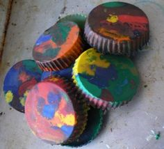 use broken crayons and melt in oven to make new multi-colored ones! kids can pick their own colors to mix!