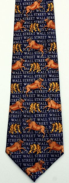 New Wall Street Mens Necktie Bull Bear Market Stock Stockbroker Money Neck Tie #StevenHarris #NeckTie