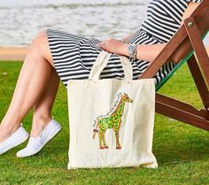 Cotton Bag, Giraffe, Eco Friendly, Reusable Tote Bags, Etsy Shop, Trending Outfits, Unique Jewelry, Handmade Gifts, Check