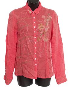 JOHNNY WAS Embroidered Shirt Button Down Rayon Coral Size M #JohnnyWas #Embroidered