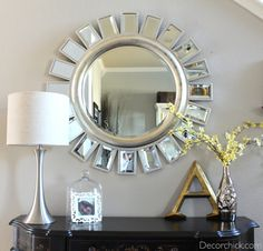 Round Sunburst Mirror for the stairway wall ...along with photo gallery.