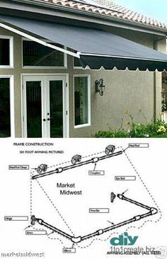 Pergola Ideas For Patio Diy Awning, Metal Awning, Fabric Awning, Awning Canopy, Pvc Pipe Projects, Outdoor Projects, Backyard Shade, Backyard Patio, Pergola Plans