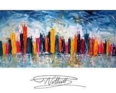 "Abstract Painting Funny Skyline Art Original Abstract Decorative Art  Gemälde Kunst  Modern Painting 39.4"" x 19.7"" . Artist Peter Nottrott."