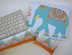 Elephant Mouse pad set  mouse wrist rest  keyboard rest  by Laa766  chic / cute / preppy / computer, desk accessories / cubical, office, home decor / co-worker, student gift / patterned design / match with coasters, wrist rests / computers and peripherals