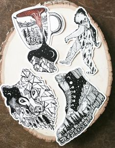 Whimsical PNW inspired hand drawn stickers (using pen and paper!) by Wild Slice Designs. Available in 4 of our favorite durable and weatherproof designs: Wolf Prism, Hiking Boot, Sasquatch Bigfoot, or Wild Brew. Outdoor Stickers, Aesthetic Stickers, Pen And Paper, Vinyl Decals, Car Decal, Bumper Stickers, Aesthetic Art, North West, Whimsical