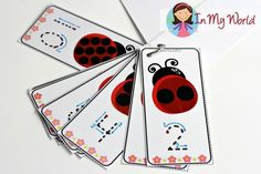 FREE Spring Preschool Centers Ladybug number tracing cards