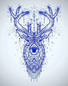 11x14 Limited edition blue deer screenprint by DevotedSoul on Etsy, $35.00