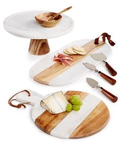 Thirstystone Marble & Wood Serveware Collection - All Registry Loves - Dining & Entertaining - Macy's Bridal and Wedding Registry Marble Cheese Board, Marble Board, Marble Tray, Kitchen Items, Kitchen Decor, Granite, Cheese Platters, Wood Tray, Kitchen Collection