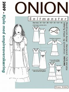 Snitmønster, Kjole med empireoverskæring Fabric Crafts, Onion, Empire, Sewing Patterns, Memes, Design, Art, Dresses, Vestidos