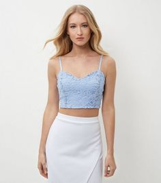 Light Blue Scuba Lace Overlay Bralet  | New Look