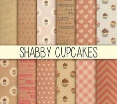 Shabby Cupcakes  Instant Download  Set of 12  by babushkadesign