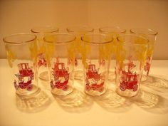 Set of 8 Mid-Century Swanky Swigs Red and Yellow Antique Jalopy Cars!