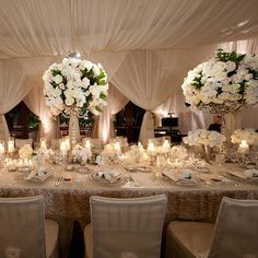 With open ceiling and dripping lights...and Smaller centerpieces with lots of candles!!!