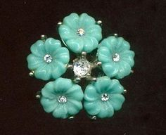 Vintage Button...Individual Aqua Blue Glass Flowers Set in Metal w Paste Centers in Antiques, Sewing (Pre-1930), Buttons | eBay