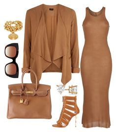 """CAMEL"" by fashionkill21 ❤ liked on Polyvore featuring Rick Owens, Balmain, Thierry Lasry, Hermès, Versace and Allurez"