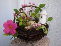 decorative twig/twine,birds nest basket,speckled eggs,flowers & wooden birdhouse-Easter basket