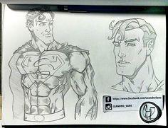 Superman comics style study. Tradicional art. Arte by Leandro Sans.